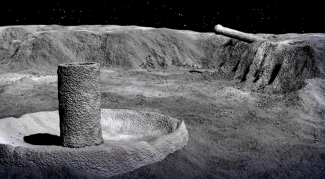 """3-D """"VIRTUAL VIEW"""" OF STRUCTURE RESEMBLING A NUCLEAR COOLING TOWER WITH A MASSIVE PIPE OR WEAPON STICKING OUT OF ADJACENT """"WALL,"""" SEEN IN APOLLO 16 PHOTO - GROUND LEVEL PERSPECTIVE. PHOTO COURTESY OF ROBERT KIVIAT PRODUCTIONS, INC."""