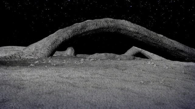 "3-D ""VIRTUAL VIEW"" OF BRIDGE SEEN IN APOLLO 8 PHOTO - GROUND LEVEL PERSPECTIVE."