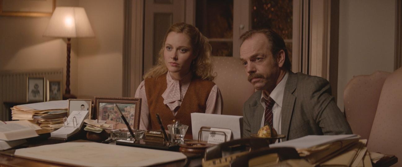 "(L-R) Georgina Haig and Hugo Weaving in the thriller ""THE MULE"" an XLrator Media release. Photo courtesy of XLrator Media."