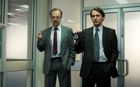 """(L-R) Hugo Weaving and Ewen Leslie in the thriller """"THE MULE"""" an XLrator Media release. Photo courtesy of XLrator Media."""