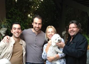 Keith Barrows, Tatyana Bulgakova and Aziz Tazi with actor Sean Stone
