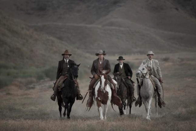 "(L-R): Kurt Russell as Sheriff Franklin Hunt, Patrick Wilson as Arthur O'Dwyer, Richard Jenkins as Chicory and Matthew Fox as John Brooder in the western film ""BONE TOMAHAWK"" an RLJ Entertainment release. Photo credit: Scott Everett White."