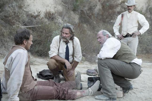 "(L-R): Patrick Wilson as Arthur O'Dwyer, Kurt Russell as Sheriff Franklin Hunt, Richard Jenkins as Chicory and Matthew Fox as John Brooder in the western film ""BONE TOMAHAWK"" an RLJ Entertainment release. Photo credit: Scott Everett White."