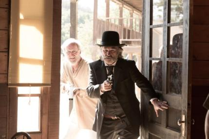 "(L-R): Richard Jenkins as Chicory and Kurt Russell as Sheriff Franklin Hunt in the western film ""BONE TOMAHAWK"" an RLJ Entertainment release. Photo credit: Scott Everett White."