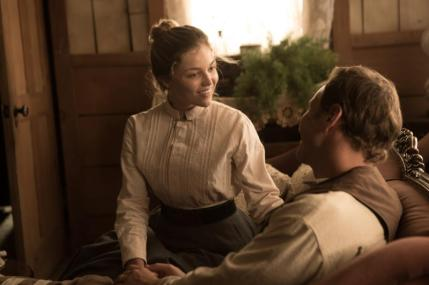 "Lili Simmons as Samantha O'Dwyer and Patrick Wilson as Arthur O'Dwyer in the western film ""BONE TOMAHAWK"" an RLJ Entertainment release. Photo credit: Scott Everett White."