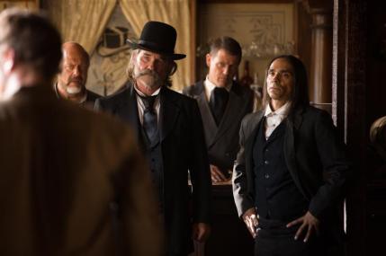 "(L-R): Kurt Russell as Sheriff Franklin Hunt and Zahn McClarnon in the western film ""BONE TOMAHAWK"" an RLJ Entertainment release. Photo credit: Scott Everett White."