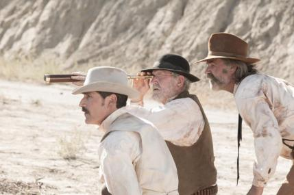 "(L-R): Matthew Fox as John Brooder, Richard Jenkins as Chicory and Kurt Russell as Sheriff Franklin Hunt in the western film ""BONE TOMAHAWK"" an RLJ Entertainment release. Photo credit: Scott Everett White."