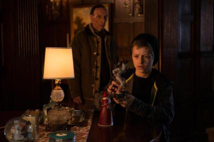 """(L-R): Julian Richings as Gerhardt and Percy Hynes-White as Duncan in the horror film """"A CHRISTMAS HORROR STORY"""" an RLJ Entertainment release. Photo credit: RLJ Entertainment."""