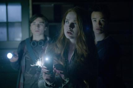 "(L-R): Alex Ozerov as Ben, Zoé De Grand Maison as Molly Simon and Shannon Kook as Dylan in the horror film ""A CHRISTMAS HORROR STORY"" an RLJ Entertainment release. Photo credit: RLJ Entertainment."