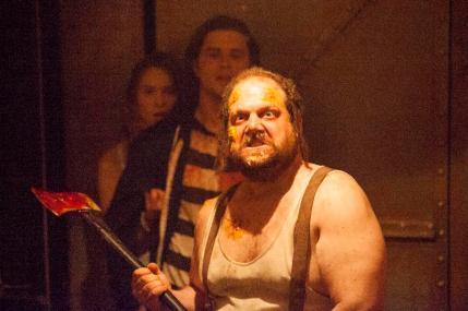 "(L-R): Dylan Penn as Maya, Ronen Rubinstein as Dante and Jordan Gelber as Big Foot in the horror film ""CONDEMNED"" an RLJ Entertainment release. Photo credit: Paul Sarkis."