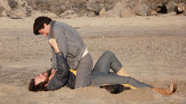 Dangerous_Men-Mortal-Combat: Daniel (Coti Cook) fights a biker for his life in Drafthouse Films' Dangerous Men. Courtesy of Drafthouse Films.