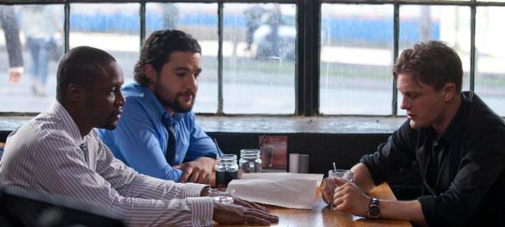 """(L-R): Rob Brown as Bryce, Christopher Abbott as Warren and Michael Pitt as Zach in the thriller """"CRIMINAL ACTIVITIES"""" an RLJ Entertainment release. Photo credit: Grant F. Fitch."""