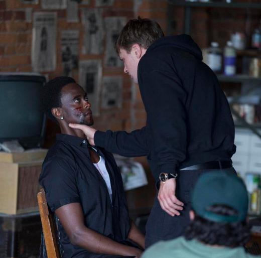 """(L-R): Edi Gathegi as Marques and Michael Pitt as Zach in the thriller """"CRIMINAL ACTIVITIES"""" an RLJ Entertainment release. Photo credit: Grant F. Fitch."""