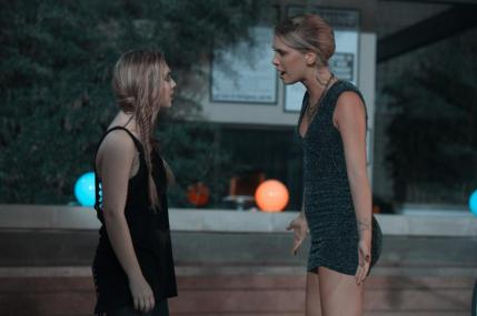 "[L-R] Sammi Hanratty as Siouxsie Hess and Ashlyn McEvers as Alyson Hess in the thriller ""BAD KIDS OF CRESTVIEW ACADEMY"" a Momentum Pictures release. Photo courtesy of Momentum Pictures."