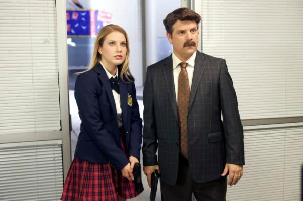 "[L-R] Ali Astin as Ethel and Sean Astin as Headmaster Nash in the thriller ""BAD KIDS OF CRESTVIEW ACADEMY"" a Momentum Pictures release. Photo courtesy of Momentum Pictures."