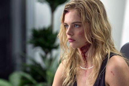 "Samara Weaving as Melanie Cross in the horror, action film ""MAYHEM"" an RLJE Films release. Photo courtesy of Sanja Bucko."