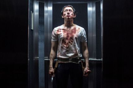"Steven Yeun as Derek Cho in the horror, action film ""MAYHEM"" an RLJE Films release. Photo courtesy of Sanja Bucko."