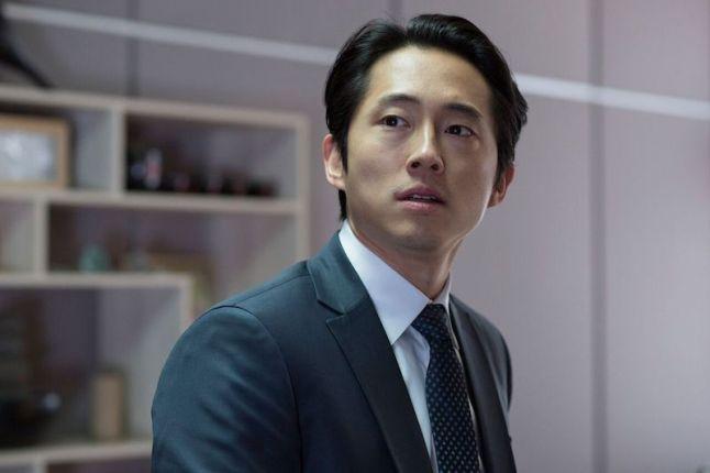 """Steven Yeun as Derek Cho in the horror, action film """"MAYHEM"""" an RLJE Films release. Photo courtesy of Sanja Bucko."""