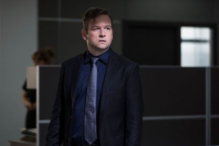 "Dallas Roberts as Lester ""The Reaper"" McGill in the horror, action film ""MAYHEM"" an RLJE Films release. Photo courtesy of Sanja Bucko."