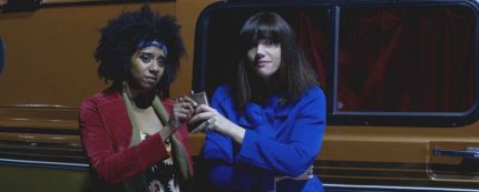 """(L-R) Makeda Declet as Frankie and Catherine Parker as Sasha in the horror film """"ALL THE CREATURES WERE STIRRING"""" an RLJE Films release. Photo courtesy of RLJE Films."""